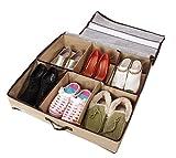 Peut contenir entre 3 et 12 paires de chaussures ou de bottes Dimensions approximatives: 56cm Longueur x 60cm Largeur x 14cm Hauteur Un panneau transparent sur le couvercle vous permet de vérifier le contenu tout en les maintenant sans poussière et o...