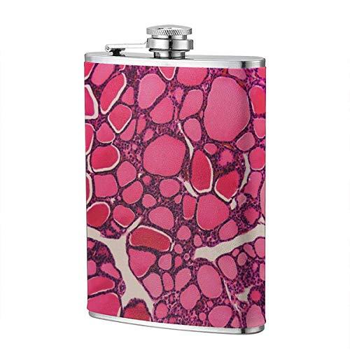 XBYC Cell Schilddrüse Hundeflasche für Alkohol, 8 Unzen auslaufsichere Edelstahl Tasche Hüftflasche mit Lederbezug, Whisky Weinflasche, Geschenk für Männer Frauen