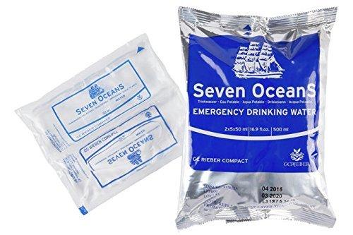Compact Seven Oceans Trinkwasser Konserven – Wasser Ration für unterwegs – 500 ml in Schutzverpackung