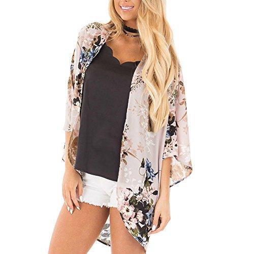 YWLINK Damen Chiffon Kimon Strickjacke Strandkleidung Blume Drucken Frauen Oberteil Vertuschen Sie Bluse Schal (M,Beige)