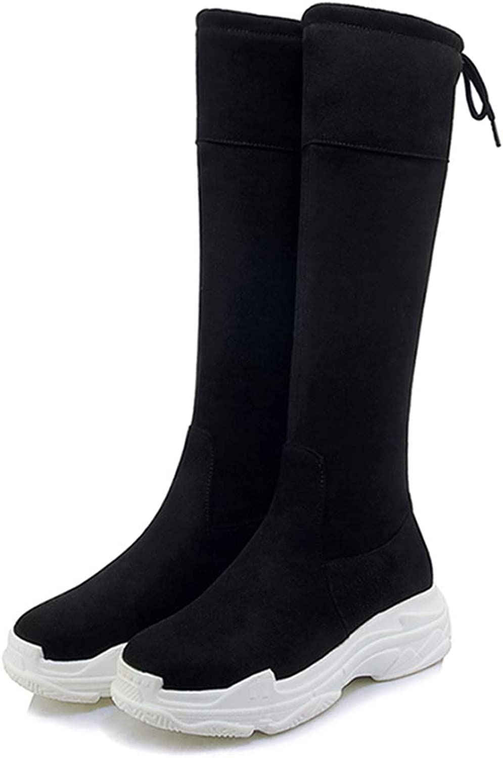 DOSOMI Women's Winter Warm Flock Over The Knee Round Toe Cross Tied Thigh High Flat Stretch Boots