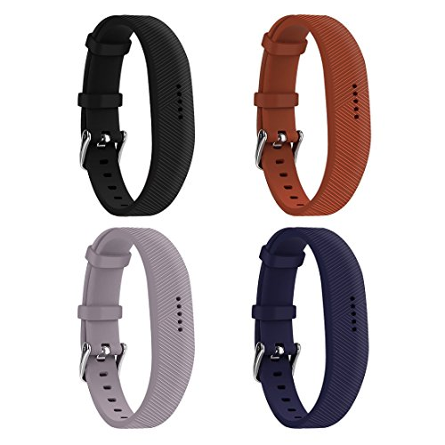 Huadea Compatible Replacment for Fitbit Flex 2,with Watch Buckle Comfortable Soft Silicone Wristband (4 Pack)