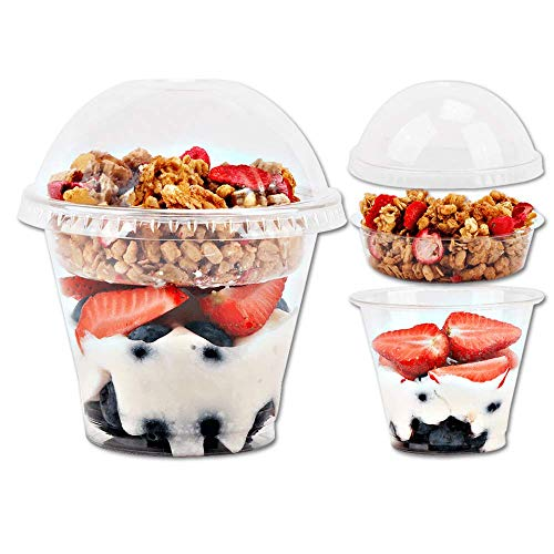 9oz Clear Plastic Parfait Cups with Insert 3.25oz & Dome Lids No Hole - (50 Sets) Yogurt Fruit Parfait Cups for Kids, for Dips and Veggies, Take Away Breakfast and Snacks. No Leaking