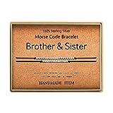 KGBNCIE Brother & Sister Morse Code Bracelet Sterling Silver Beads on Silk Cord Family Inspirational Gift for Women