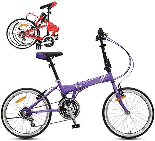 RENXR Faltbare Unisex Bike, 21-Speed-Zoom 20-Inchcommuter Leicht Klappfahrrad Stoßdämpfung Frauen/Erwachsene/Schüler/Car Fahrrad,Lila