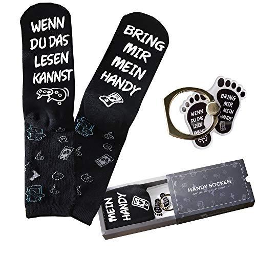 """Geschenkset mit Handy-Ring &""""Bring Mir Handy Socken"""" in Geschenkbox, coole Geschenke für Freundin, Freund, ausgefallene Geschenkideen für Mama, Schwester als Geburtstagsgeschenke (Schwarz mit Motiv)"""