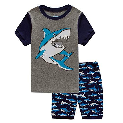 YOUNGSOUL Kinder Schlafanzüge Kurz Jungen Baumwolle Haifisch Pyjama Sommer Kurzarm Nachtwäsche Zweiteiler Marineblau 122 / Größe 140cm