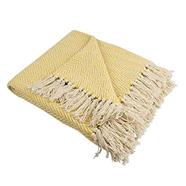 DII Rustic Farmhouse Cotton Chevron Blanket Throw with Fringe For Chair, Couch, Picnic, Camping, Beach, & Everyday Use , 50 x 60  - Mini Chevron Marigold