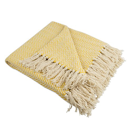 DII Rustic Farmhouse Cotton Chevron Blanket Throw with Fringe For Chair, Couch, Picnic, Camping, Beach, & Everyday Use , 50 x 60' - Mini Chevron Marigold