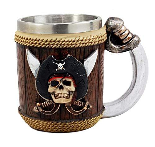 Creatief ontwerp van de piraat koning cartoon bier mok, hars roestvrij stalen dubbele kopje koffie, gepersonaliseerde piraat schedel mok, vakantie cadeau