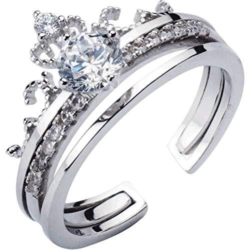 WOZUIMEI Anello DArgento S925 Femminile Coreano Moda Dolce Singolo Anello Corona Di Diamanti Temperamento Semplice Anello Femminileargento, regolabile