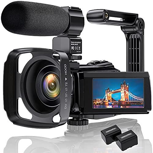 """4K Videokamera Camcorder Ultra HD 48MP WiFi IR Nachtsicht-Vlogging-Kamera für 3\""""IPS-Touchscreen 16X Digitalzoom YouTube-Kamerarecorder mit Mikrofon, Handstabilisator, Gegenlichtblende"""