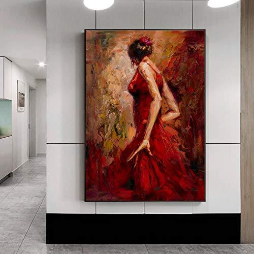 SADHAF Modern abstract portret en kunstdruk schilderij jurk rood ballerina meisjes schilderij wanddecoratie 30x40cm (senza cornice) A1.