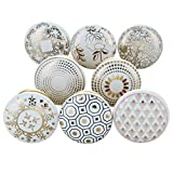G Decor Royal Gold and Cream White Assorted Designs Ceramic Door Knobs, Vintage, Shabby Chic, Interior Furniture, Cabinet Cupboard Drawers Pulls Handles (8-Pack)