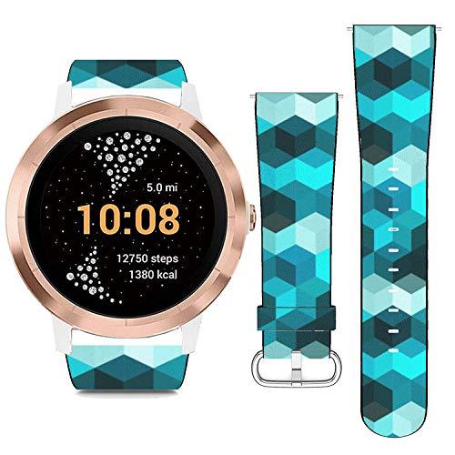 Replacement Leather Strap Printing Wristbands Compatible with Garmin Vivoactive 3 / Vivoactive 3 Music/Vivomove - Hexagon Grid Vector Background