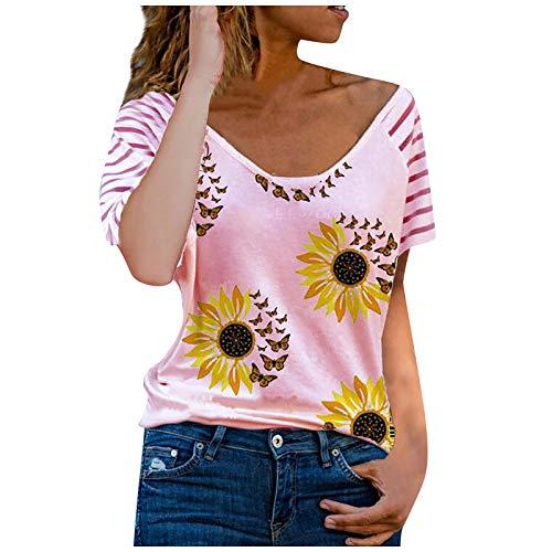 FMYONF Camiseta de mujer con estampado de corazones, cuello en V, manga corta, informal, a rayas, para verano, sexy, ocio, holgada, túnica (rosa, XL)