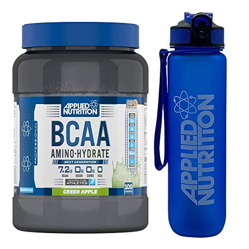 Applied Nutrition Bundle BCAA Amino Hydrate Powder 1.4kg + Lifestyle Water Bottle 1000ml | Branched Chain Amino Acids Supplement, Electrolytes, B Vits, Intra Workout & Recovery Drink (Green Apple)