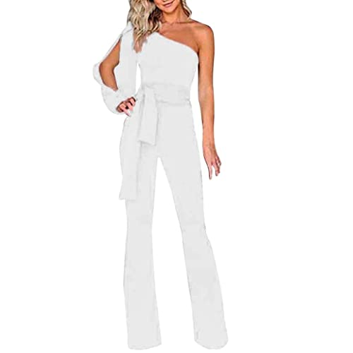 1a52bda777c7 SCSAlgin blouse Women Solid Long Sleeve Cold Shoulder Jumpsuit Casual  Clubwear Wide Leg Pants