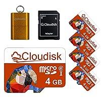 Cloudisk マイクロ sdメモリーカード クラス6 micro sd アダプター+カードリーダー (5パック 4 gb)