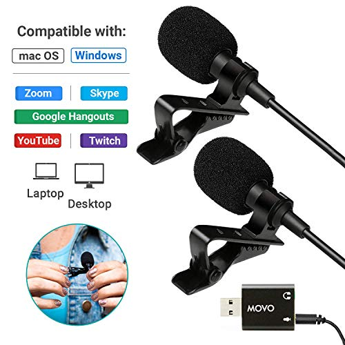 Cameras Remote Work and Laptop Microphone Desktop Movo Sevenoak Dual Universal USB Computer Microphone with USB Adapter Podcasting Gaming Smartphones PC and Mac Compatible with Laptop