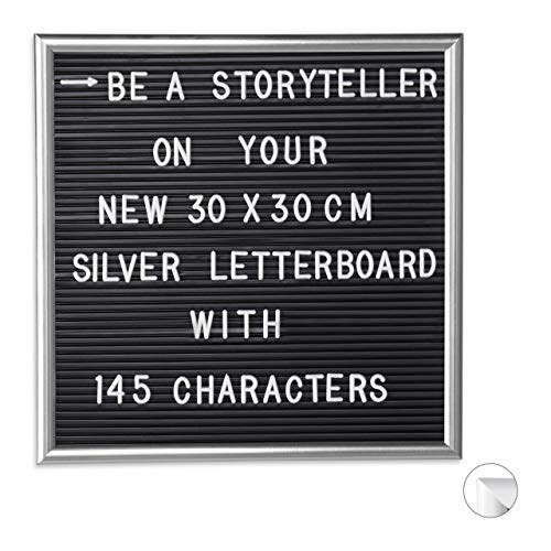 Relaxdays Letterboard mit Holzrahmen, 145 Buchstaben, Zahlen & Sonderzeichen, Rillentafel zum Stecken, 30 x 30cm, silber