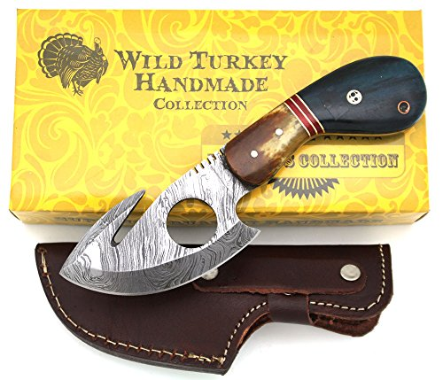 Wild Turkey Handmade Damascus Steel Color Bone Handle Fixed Blade Full Tang Skinner Knife w/Leather Sheath Hunting Camping Fishing Outdoor (Blue)