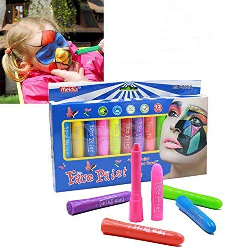 Joojun Juego de lápices de Colores de 12 Colores, Juego de Pintura para niños Suministros de Maquillaje de lápices de Colores no tóxicos para Fiestas Disfraz de Carnaval de Halloween