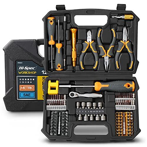 HI-SPEC 127 조각 스크류 비트 & 너트 드라이버 도구 키트 가정 및 차고 DIY에 대 한 설정. 펜치 스크류 드라이버 및 정밀 비트가있는 완전한 수리 및 유지 보수 핸드 툴