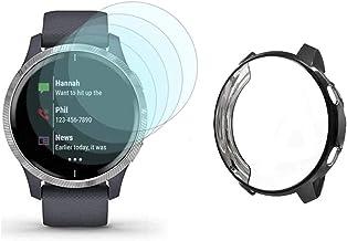 Watch Screen Protector (4+1Pack) Compatible for Garmin Venu, Film Anti-Scratch High Definition Full Coverage and Soft TPU ...