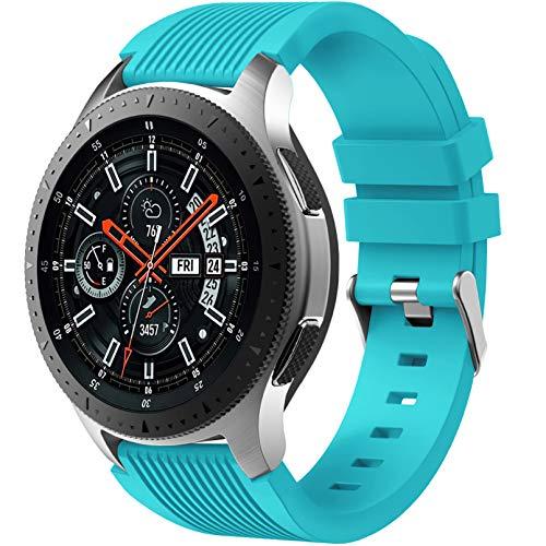 Dirrelo Correa Compatible con Samsung Galaxy Watch 3 45mm/Galaxy Watch 46mm/Huawei GT 2 46mm, 22mm Deportiva Muñequeras Suave Silicona para Samsung Gear S3 Frontier, Hombres Mujeres, Turquesa