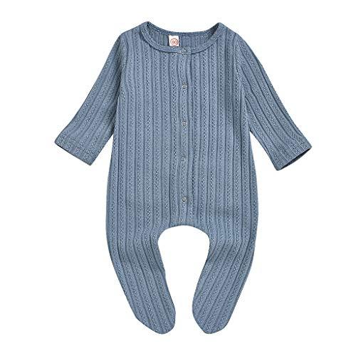 Xmiral Baby Mädchen Jungen Pyjamas Unisex Infant Einfarbig Langarm Knöpfe Strampler Overall Oansatz Einteilige Nachtwäsche(Blau,0-3 Monate)