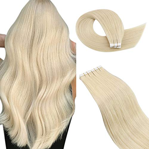 Ugeat Real Human Tape in Hair Extensions 20Inch #60 Platinum Blonde Tape in Hair Extensions 40PCS Tape in Hair Extensions Seamless Full Head Tape in Extensions 100G