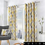 Fusion - Lennox - 100% Cotton Ready Made Pair of Eyelet Curtains - 46' Width x 54' Drop (117 x 137cm) in Grey