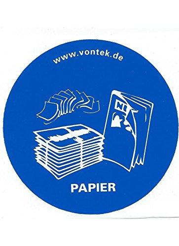 3er SET Altpapier blau Aufkleber Mülltrennung Papier Abfalltrennung Papiertonne