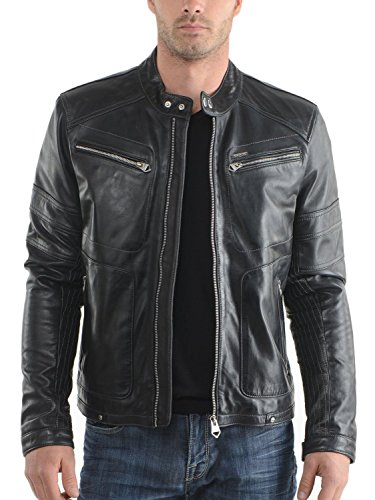 Laverapelle Men's Genuine Lambskin Leather Jacket (Black, Extra Small, Polyester Lining) - 1501390