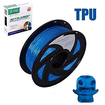 E-DA TPU 3D Printer Filament, TPU Filament 1.75mm 1KG, With Flexibility and Cold Resistance, 3D Printing Filament for 3D Printers, Dimensional Accuracy +/- 0.02mm, (Blue)