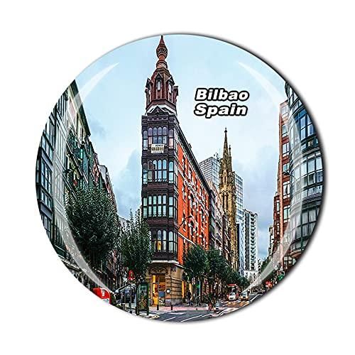 Bilbao España - Imán para nevera, diseño de cristal en 3D, para decoración del hogar, cocina, colección de regalo