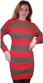 Rimi Hanger Women's Red and Green Stripe Fancy Dress Striped Knitted Jumper (S-2X)