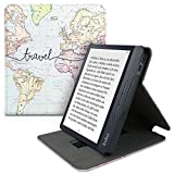 kwmobile Carcasa Compatible con Kobo Libra H2O - Funda para e-Book de Cuero sintético - Mapa Mundial Negro/Multicolor