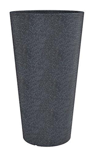 Scheurich Coneo High, Hochgefäß aus Kunststoff, Schwarz-Granit, 39 cm Durchmesser, 70 cm hoch, 27 l Vol.
