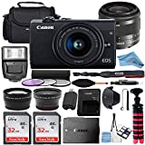 Canon EOS M200 Mirrorless Digital Camera 24.1MP Sensor w/EF-M 15-45mm f/3.5-6.3 is STM Lens + 2 Pcs SanDisk 32GB Memory Card + Bag + Flash + Tripod + Accessory Bundle (Black) (32GB)