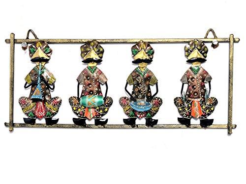 Jaipur handwerk hub India Metal Art Rajasthani Warli muzikanten spelen vier instrumenten muur opknoping decoratie
