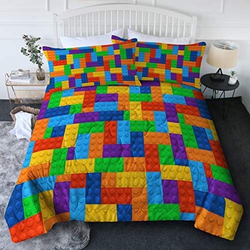 BlessLiving 3pc Comforter Set Colorful Toy Building Blocks Background Pattern Quilt Coverlet Bedspread Twin/Twin XL Size Fun and Colorful Bedding Sets with 2 Pillow Shams for Kids Teen Boys Girls