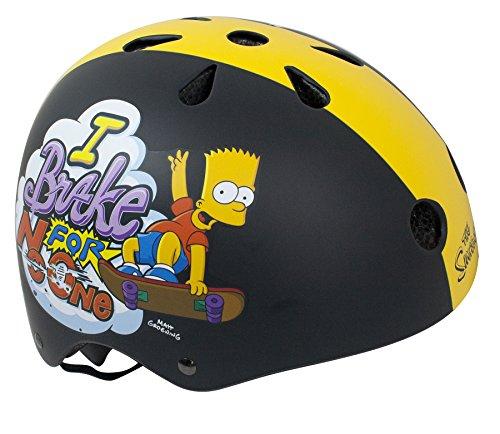 Durca 802058 The Simpsons Kinder-Fahrradhelm Multisport Jugendliche, Unisex, Schwarz/Gelb, Größe 48-54 cm