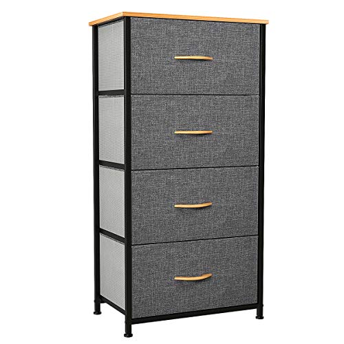 YITAHOME Dresser with 4 Drawers - Fabric Storage Tower, Organizer Unit for Bedroom, Living Room, Hallway, Closets & Nursery - Sturdy Steel Frame, Wooden Top & Easy Pull Fabric Bins
