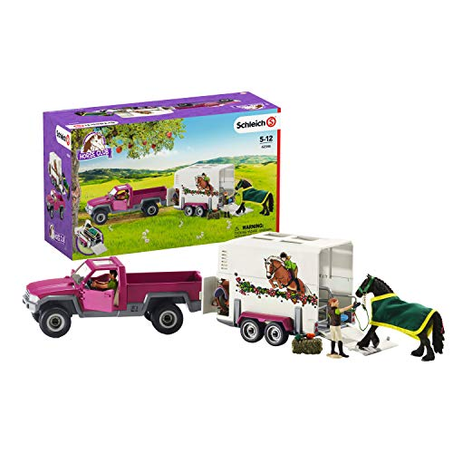 Schleich 42346 Horse Club play set - pick-up con remolque para caballos, juguetes a partir de 5 años