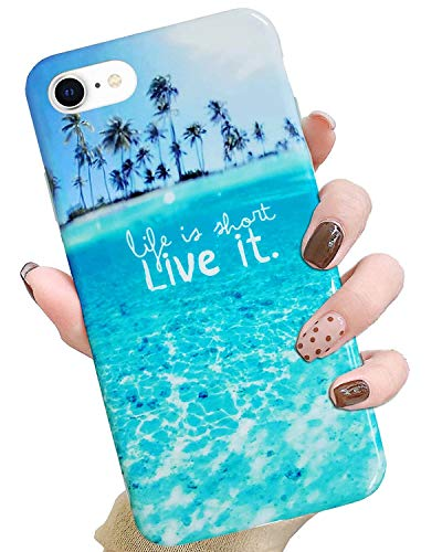 J.west - Carcasa para iPhone SE 2020, funda para iPhone 8, iPhone 7, diseño de playa tropical azul tropical y océano, transparente, TPU suave, de goma, silicona para iPhone XR 2018 de 15,5 cm (playa)