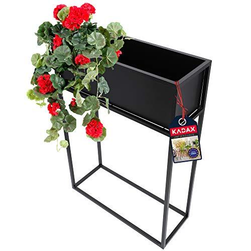 KADAX breiter Blumenkasten aus schwarzen Stahlstab, Blumenständer für Innen und Außen, Blumenbeet, Blumentopf, Blumenkübel, Blumenhalter (rechteckig)