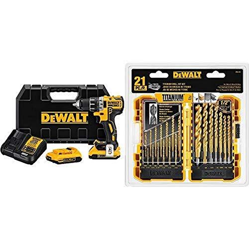 """DEWALT DCD791D2 20V MAX XR Li-Ion 0.5"""" 2.0Ah Brushless Compact Drill/Driver Kit with DEWALT DW1361 Titanium Pilot Point Drill Bit Set, 21-Piece"""