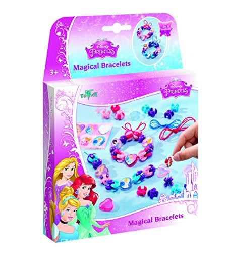 Disney Princess Bastel-Set: Armbänder zum Selber Verzieren mit Anhängern, Perlen und Stickern von Dornröschen, Cinderella und Arielle, Geschenk für Mädchen